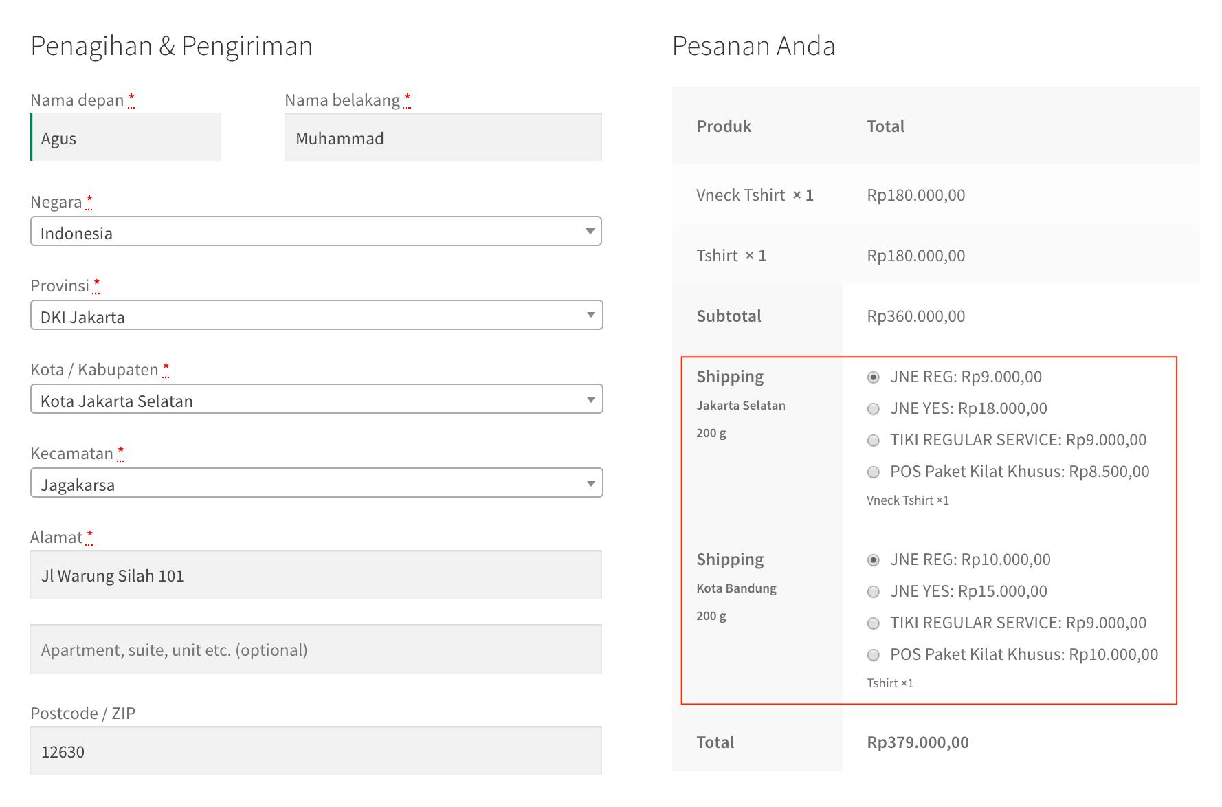 Woocommerce Indo Ongkir Wordpress Plugin Wpbisnis Solution Dan Pembeli Tetap Bisa Pesan Produk A B C Dalam Satu Order